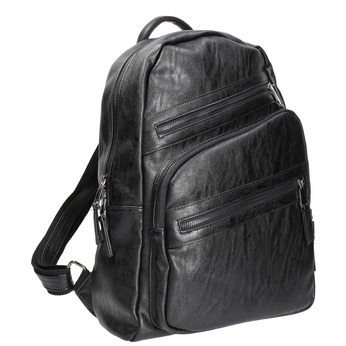 Backpack with zips bata, black , 961-6516 - 13