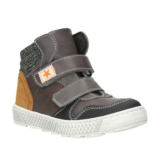 Leather high-top sneakers mini-b, brown , 214-4203 - 13