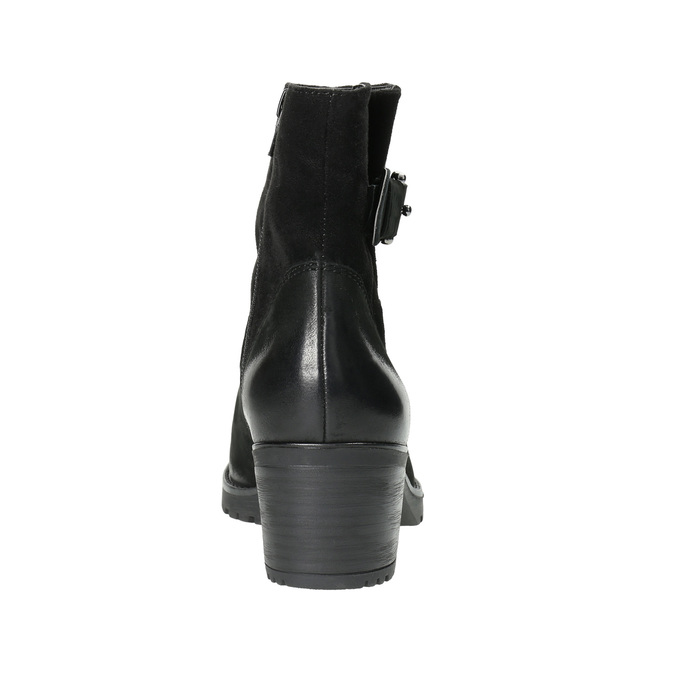 Leather ankle boots with a buckle bata, black , 696-6621 - 17
