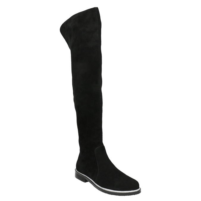 Brushed leather over-knee high boots bata, black , 593-6605 - 13
