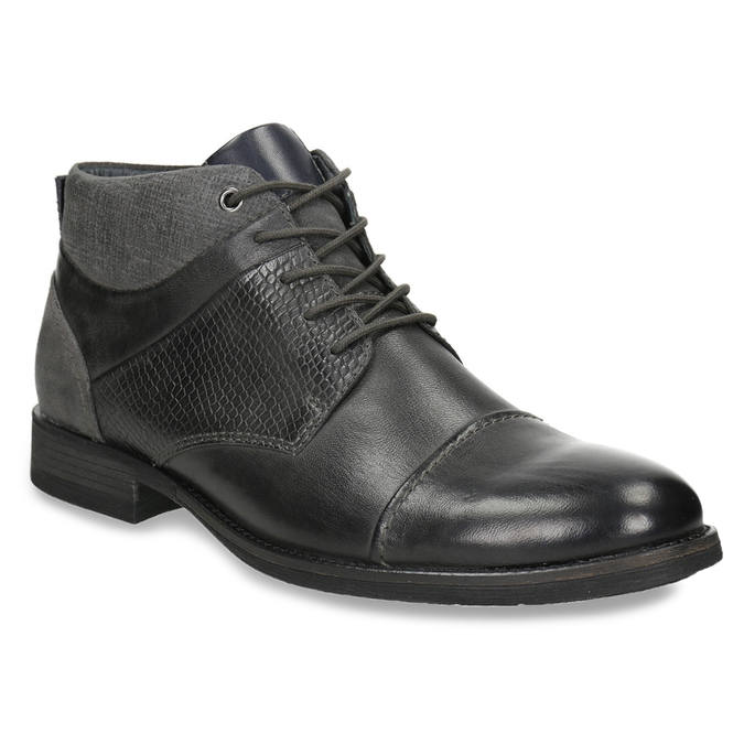 Textured leather ankle boots bata, gray , 826-2616 - 13