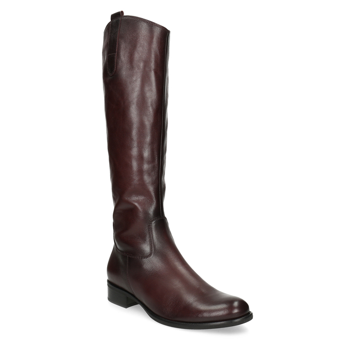 Burgundy High Leather Boots gabor, red , 696-5191 - 13