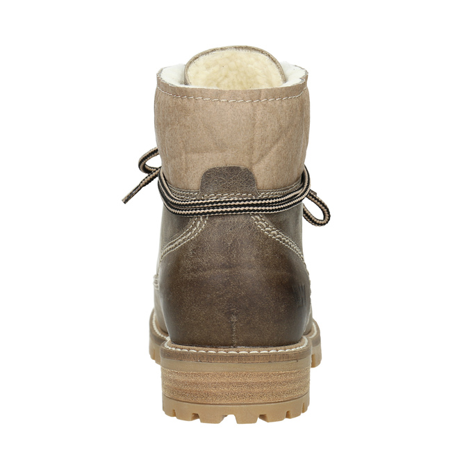 Leather winter boots with fur weinbrenner, brown , 594-2491 - 16