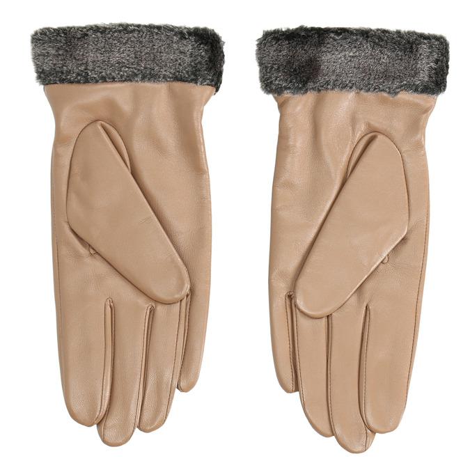 Ladies' beige leather gloves bata, beige , 904-4112 - 16