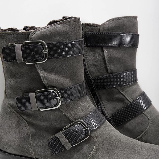 Ladies' high boots with buckles bata, gray , 593-2610 - 14