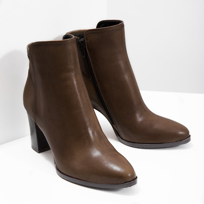 Leather Ankle Boots bata, brown , 794-4650 - 18