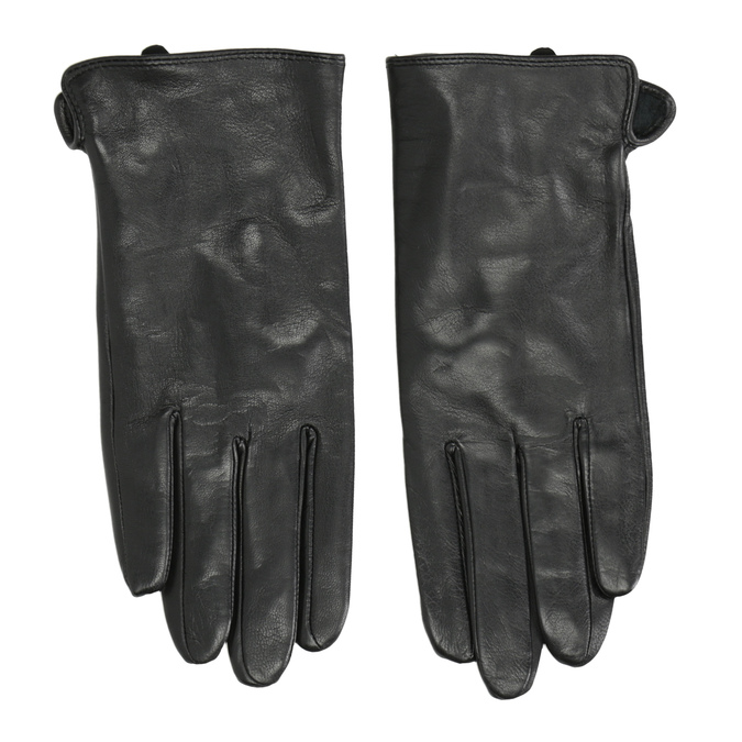 Ladies' leather gloves bata, black , 904-6129 - 26