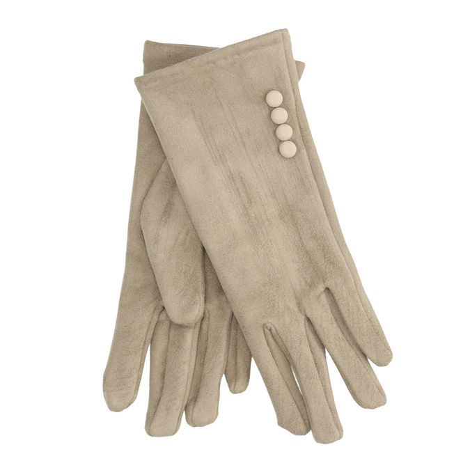 Ladies' Textile Gloves with Buttons, beige , 909-8612 - 13