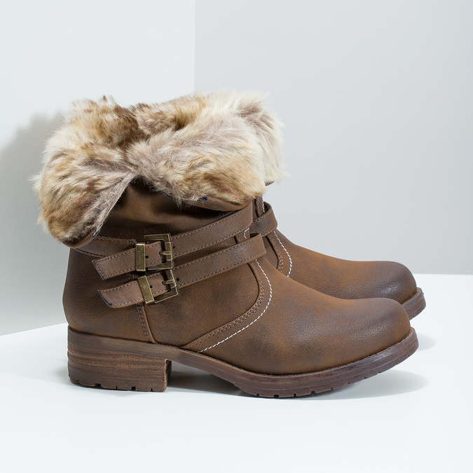 Ladies' ankle boots with fur bata, brown , 591-4601 - 16