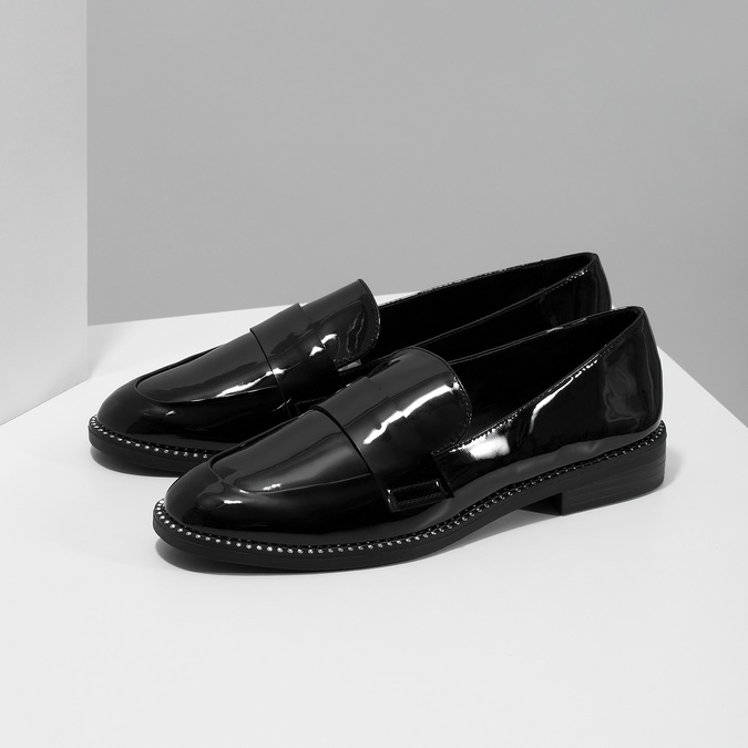 Ladies' patent moccasins bata, black , 511-6607 - 16