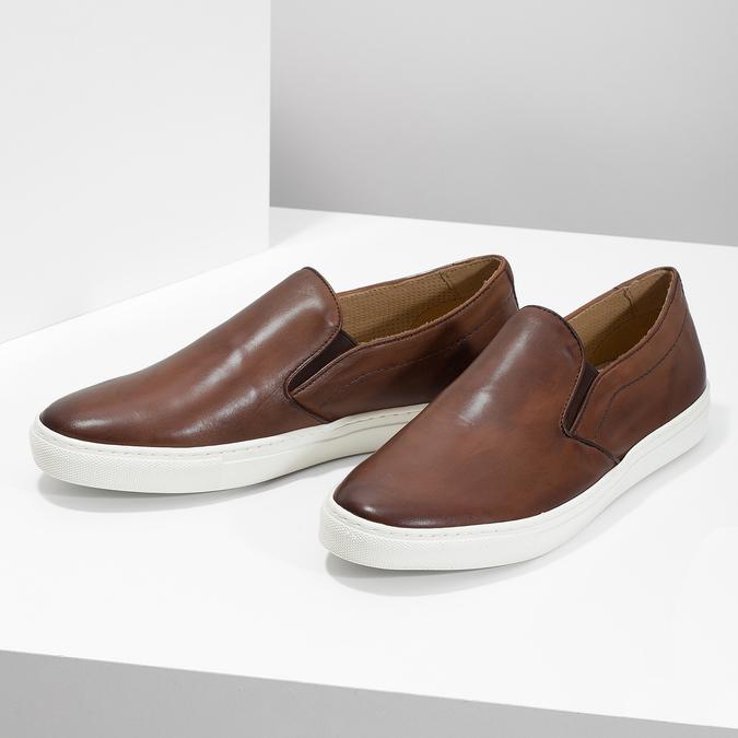 Men's Leather Slip-Ons bata, brown , 836-4601 - 16