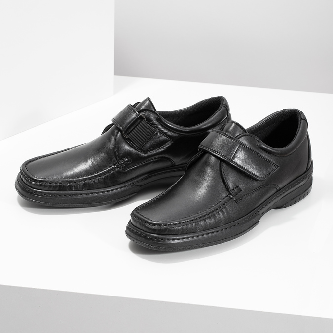 Men's leather shoes with Velcro, black , 824-6543 - 16