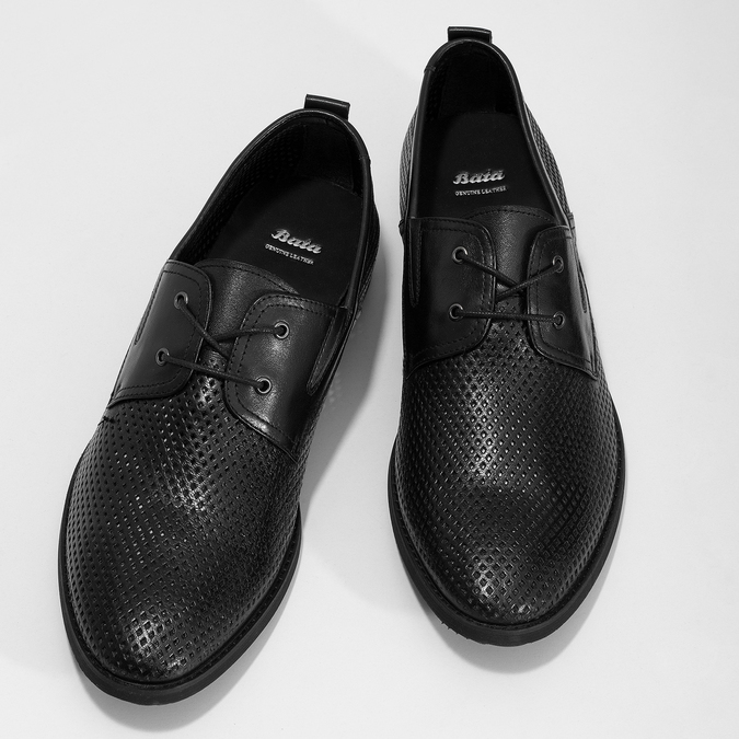 Leather shoes with perforations bata, black , 854-6601 - 16