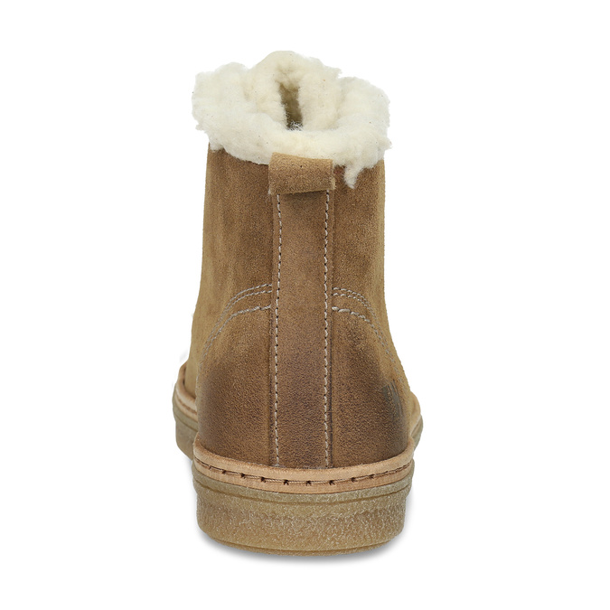 Leather ankle-cut sneakers with fur weinbrenner, brown , 596-8627 - 15